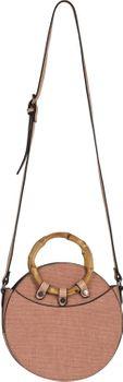 styleBREAKER Damen Runde Umhängetasche mit Bambus Henkeln und strukturierter Oberfläche, Schultertasche, Henkeltasche, Tasche 02012292 – Bild 8