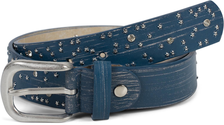 Damen Gürtel Stern Nieten Strass Pinselstrich Optik Vintage Nietengürtel kürzbar