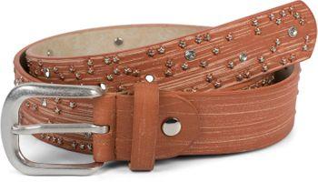 styleBREAKER Damen Gürtel mit Sternchen Nieten und Strass, Oberfläche in Pinselstrich Optik, Vintage Nietengürtel, kürzbar 03010096 – Bild 15