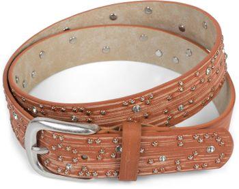 styleBREAKER Damen Gürtel mit Sternchen Nieten und Strass, Oberfläche in Pinselstrich Optik, Vintage Nietengürtel, kürzbar 03010096 – Bild 14
