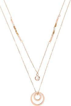 styleBREAKER Damen Edelstahl Layer Halskette 2-reihig mit Strass, Perlen und Ringen, Ankerkette, Kette, Schmuck 05030058 – Bild 5
