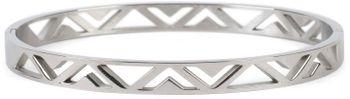 styleBREAKER Damen Edelstahl Armreif mit dreieckigen Cutouts im Azteken Style, Clipverschluss Armband, Schmuck 05040168 – Bild 8