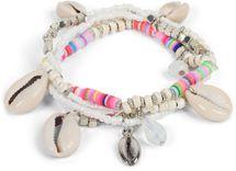 styleBREAKER Damen 4 reihiges Armband mit verschiedenen Perlen und Muschel Anhängern, Gummizug, Kugelarmband, Strandarmband, Schmuck 05040169 – Bild 4