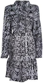 styleBREAKER Damen Minikleid langärmlig mit Schlangen Animal Print Muster, Blusenkragen und Knopfleiste, Rüschen, Tunika, Kleid 08010061 – Bild 1