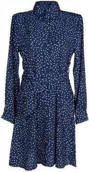 styleBREAKER Damen Hemdkleid langärmlig mit Polka Dots Pünktchen Muster, Blusenkragen und Gürtel, Minikleid, Blusenkleid, Kleid 08010062 – Bild 2
