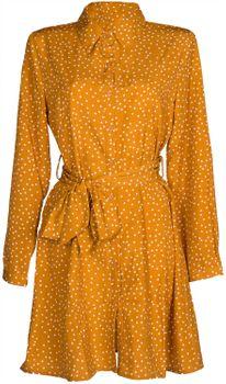 styleBREAKER Damen Hemdkleid langärmlig mit Polka Dots Pünktchen Muster, Blusenkragen und Gürtel, Minikleid, Blusenkleid, Kleid 08010062 – Bild 1
