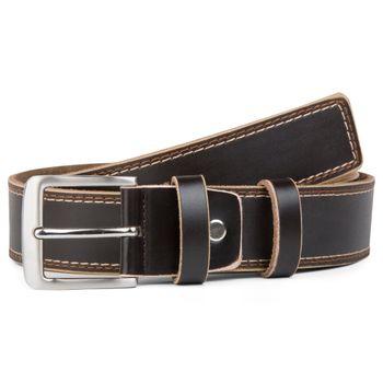 styleBREAKER Jeansgürtel aus beschichtetem Spaltleder mit Ziernähten, Gürtel, kürzbar, Unisex 03010028 – Bild 4