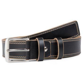 styleBREAKER Jeansgürtel aus beschichtetem Spaltleder mit Ziernähten, Gürtel, kürzbar, Unisex 03010028 – Bild 2