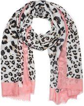 styleBREAKER Damen Schal mit großem und kleinem Leoparden Muster Print, farbigem Streifen und Fransen, Tuch 01016176 – Bild 13