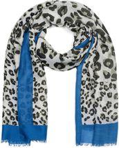 styleBREAKER Damen Schal mit großem und kleinem Leoparden Muster Print, farbigem Streifen und Fransen, Tuch 01016176 – Bild 16