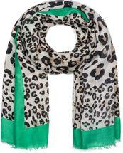 styleBREAKER Damen Schal mit großem und kleinem Leoparden Muster Print, farbigem Streifen und Fransen, Tuch 01016176 – Bild 4