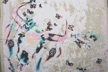 styleBREAKER Damen Schal mit Schmetterling Muster und Stier Skull Aufdruck und Fransen, Tuch 01016178 – Bild 9