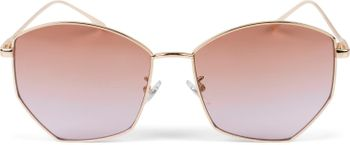 styleBREAKER Damen Piloten Sonnenbrille mit fünfeckigen Gläsern, getönten Polycarbonat Gläsern und Metall Gestell, Retro Brille 09020103 – Bild 3