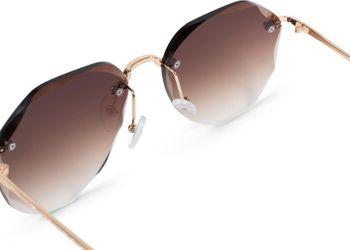 styleBREAKER Damen Piloten Sonnenbrille Rahmenlos mit getönten Gläsern im Diamant Schliff, Geprägte Bügel, Vieleckige Gläser 09020106 – Bild 4