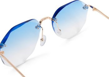 styleBREAKER Damen Piloten Sonnenbrille Rahmenlos mit getönten Gläsern im Diamant Schliff, Geprägte Bügel, Vieleckige Gläser 09020106 – Bild 11