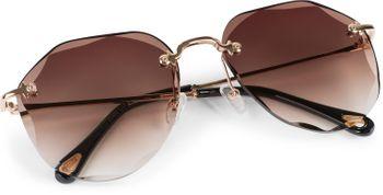 styleBREAKER Damen Piloten Sonnenbrille Rahmenlos mit getönten Gläsern im Diamant Schliff, Geprägte Bügel, Vieleckige Gläser 09020106 – Bild 5