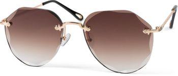 styleBREAKER Damen Piloten Sonnenbrille Rahmenlos mit getönten Gläsern im Diamant Schliff, Geprägte Bügel, Vieleckige Gläser 09020106 – Bild 1