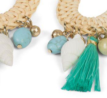 styleBREAKER Damen Statement Ohrringe mit Bast Anhänger, Muscheln, Quaste und Perlen mit Stecker, Ohrhänger, Ohrschmuck 05090012 – Bild 2