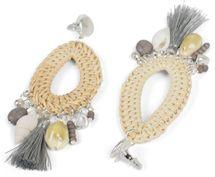 styleBREAKER Damen Statement Ohrringe mit Bast Anhänger, Muscheln, Quaste und Perlen mit Stecker, Ohrhänger, Ohrschmuck 05090012 – Bild 16