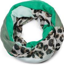 styleBREAKER women tube scarf with leopard animal print pattern and colour blocking patches, snood, shawl 01016182 – Bild 7