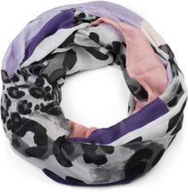 styleBREAKER Damen Loop Schal mit Leoparden Animal Print Muster und Color Blocking Farbflächen, Schlauchschal, Tuch 01016182 – Bild 1