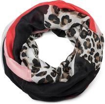 styleBREAKER Damen Loop Schal mit Leoparden Animal Print Muster und Color Blocking Farbflächen, Schlauchschal, Tuch 01016182 – Bild 4