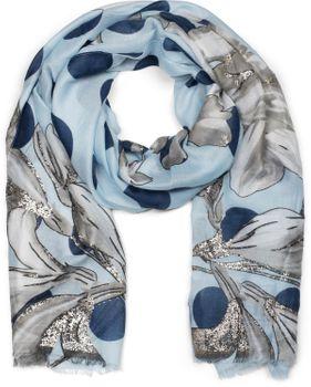 styleBREAKER Damen Schal mit Metallic Blumen Muster, Punkte und Fransen, Tuch 01016183 – Bild 19