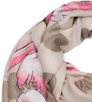 styleBREAKER Damen Schal mit Metallic Blumen Muster, Punkte und Fransen, Tuch 01016183 – Bild 26