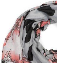 styleBREAKER Damen Schal mit Metallic Blumen Muster, Punkte und Fransen, Tuch 01016183 – Bild 2