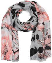 styleBREAKER Damen Schal mit Metallic Blumen Muster, Punkte und Fransen, Tuch 01016183 – Bild 1