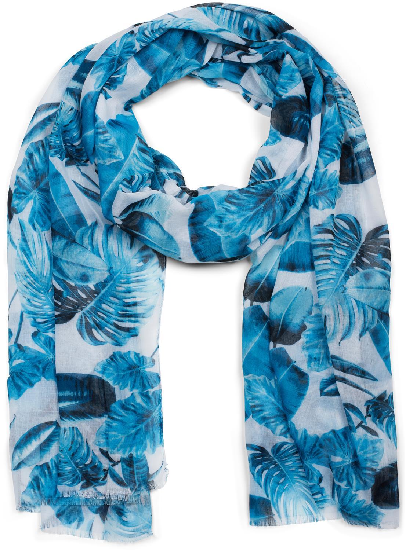Damen Schal mit Palmen Blätter Muster Aufdruck und Fransen Tuch Scarf Halstuch