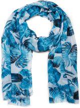 styleBREAKER Damen Schal mit Palmen Blätter Muster und Fransen, Tuch 01016186 – Bild 4
