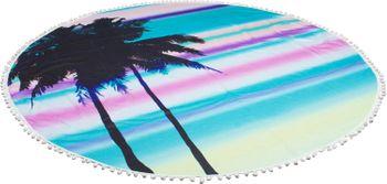styleBREAKER rundes Strandtuch mit Palmen, Sonnenuntergang Muster und PomPom Borte, Handtuch, Badetuch, Unisex 05050076 – Bild 3