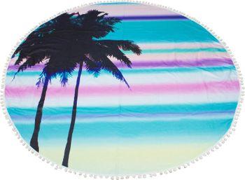 styleBREAKER rundes Strandtuch mit Palmen, Sonnenuntergang Muster und PomPom Borte, Handtuch, Badetuch, Unisex 05050076 – Bild 2
