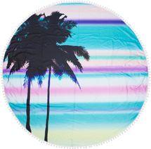 styleBREAKER rundes Strandtuch mit Palmen, Sonnenuntergang Muster und PomPom Borte, Handtuch, Badetuch, Unisex 05050076 – Bild 1