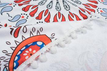 styleBREAKER rechteckiges Strandtuch mit Paisley Ornament Muster und PomPom Borte, Handtuch, Badetuch, Unisex 05050077 – Bild 5