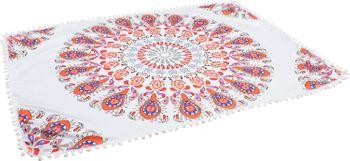 styleBREAKER rechteckiges Strandtuch mit Paisley Ornament Muster und PomPom Borte, Handtuch, Badetuch, Unisex 05050077 – Bild 3