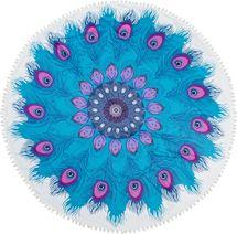 styleBREAKER rundes Strandtuch mit Feder Ornament Muster und PomPom Borte, Handtuch, Badetuch, Unisex 05050078 – Bild 1