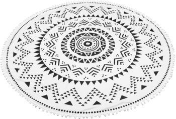 styleBREAKER rundes Strandtuch mit Azteken Zacken Muster und PomPom Borte, Handtuch, Badetuch, Unisex 05050079 – Bild 2