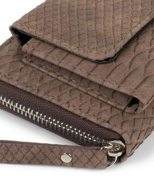 styleBREAKER Damen Portemonnaie in Krokodil Optik mit Handyfach, Reißverschluss, Geldbörse 02040129 – Bild 18