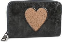 styleBREAKER Damen Mini Geldbörse mit Teddy-Fell Herz, Reißverschluss, Portemonnaie 02040130 – Bild 1