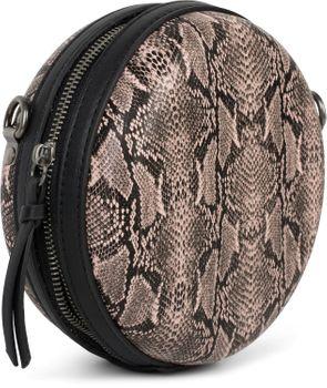 styleBREAKER Damen Runde Umhängetasche in Schlangenleder Optik mit Reißverschluss, Schultertasche, Tasche 02012311 – Bild 11