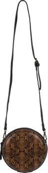 styleBREAKER Damen Runde Umhängetasche in Schlangenleder Optik mit Reißverschluss, Schultertasche, Tasche 02012311 – Bild 4