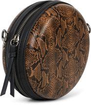 styleBREAKER Damen Runde Umhängetasche in Schlangenleder Optik mit Reißverschluss, Schultertasche, Tasche 02012311 – Bild 5