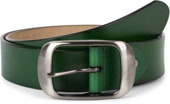 styleBREAKER Unisex Leder Gürtel Unifarben mit glänzender Oberfläche und gebürsteter Schnalle, kürzbar 03010104 – Bild 3