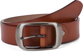 styleBREAKER Unisex Leder Gürtel Unifarben mit glänzender Oberfläche und gebürsteter Schnalle, kürzbar 03010104