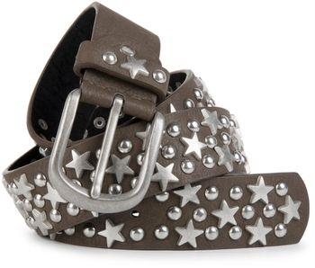styleBREAKER Nietengürtel mit Sterne und Rundnieten im Vintage Style , kürzbar 03010030 – Bild 3