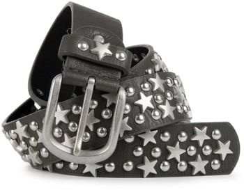 styleBREAKER studded belt with stars and round rivets in vintage style with genuine leather, shortened 03010030 – Bild 6