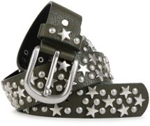 styleBREAKER studded belt with stars and round rivets in vintage style with genuine leather, shortened 03010030 – Bild 2