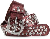 styleBREAKER studded belt with stars and round rivets in vintage style with genuine leather, shortened 03010030 – Bild 4
